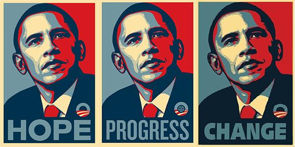 Shepard Fairey posters de Barack Obama 2008