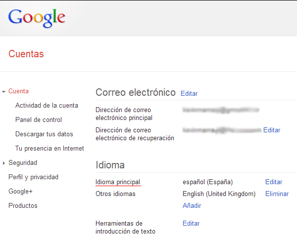 Alertas de Google en otros idiomas