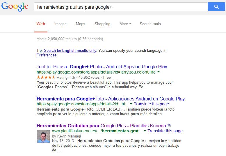 SERP de Google con imagen de Autor