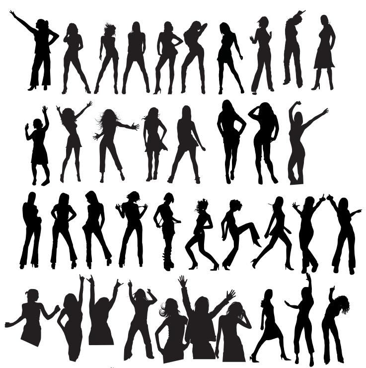 Siluetas de Mujeres Bailando