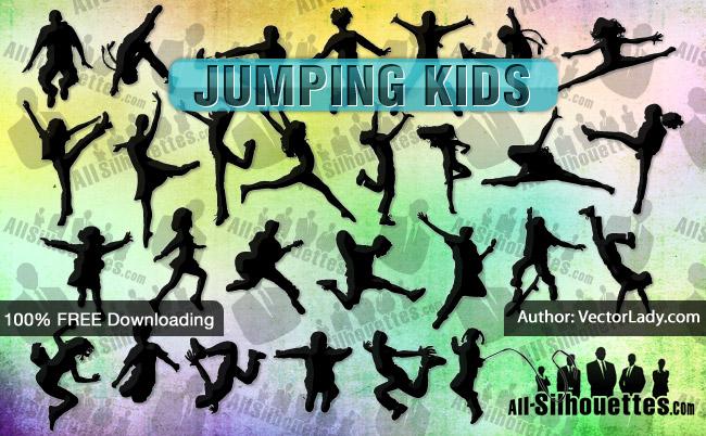 Siluetas de Niños Saltando
