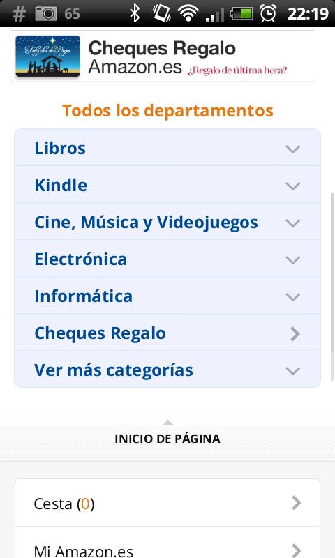 Amazon Menú Principal