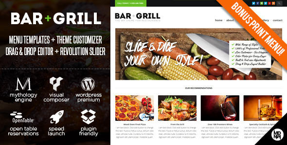 Tema WordPress Bar Grill