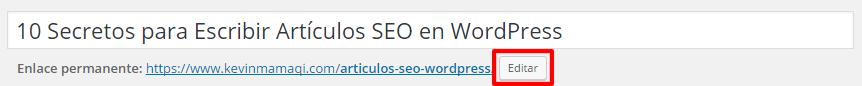 Modificar la URL (Enlace Permanente) en WordPress