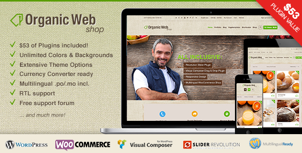 Tema WordPress Organic Web Shop