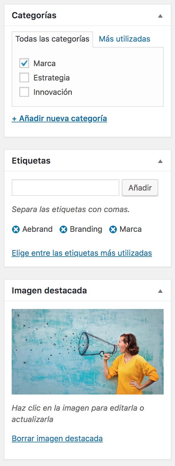 Imagen de Categorías y Etiquetas